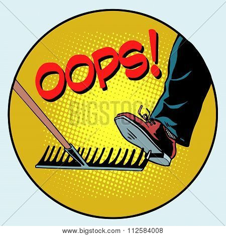 To step on a rake. Failure and problems pop art retro style