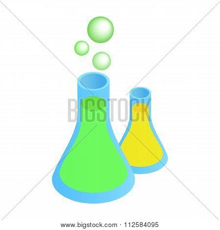 Flasks with liquid isometric icon