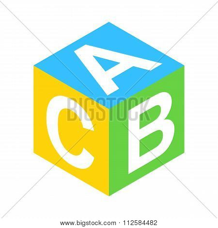 ABC block isometric 3d icon