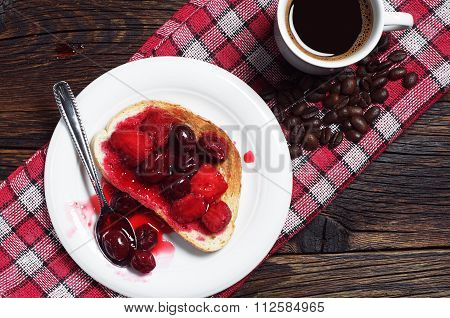 Bread With Canned Fruits And Coffee