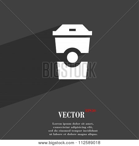 Breakfast, Coffee Symbol Flat Modern Web Design With Long Shadow And Space For Your Text.