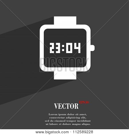 Wristwatch Symbol Flat Modern Web Design With Long Shadow And Space For Your Text.