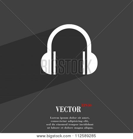 Headphones Symbol Flat Modern Web Design With Long Shadow And Space For Your Text.