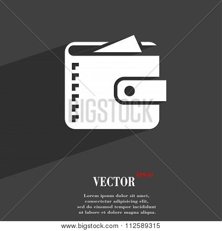 Purse  Symbol Flat Modern Web Design With Long Shadow And Space For Your Text.