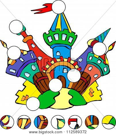 Colorful Fairytale Castle. Complete The Puzzle And Find The Missing Parts Of The Picture. Vector Ill