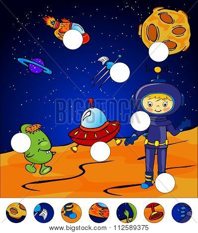 Aliens, Astronaut And Rocket Standing On The Surface Of Mars. Complete The Puzzle And Find The Missi