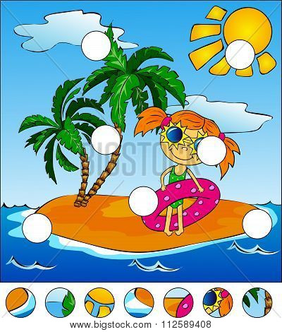 Girl With A Pink Rubber Ring. Island With Palm Trees. Complete The Puzzle And Find The Missing Parts