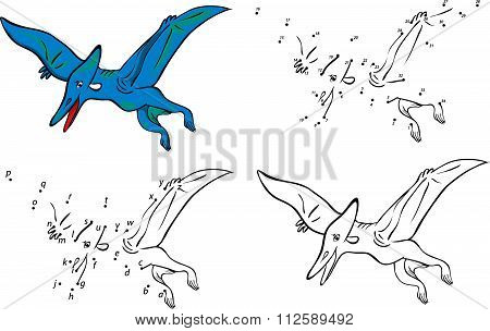 Cartoon Pterodactyl. Vector Illustration. Coloring And Dot To Dot Game For Kids