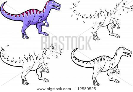 Cartoon Tyrannosaur. Vector Illustration. Coloring And Dot To Dot Game For Kids