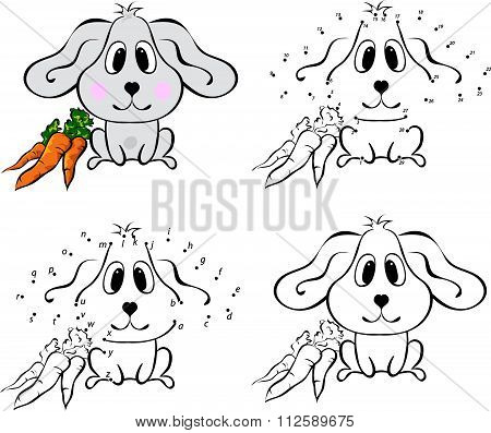 Cartoon Hare With Carrot. Vector Illustration. Coloring And Dot To Dot Game For Kids