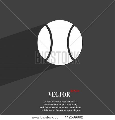Baseball Symbol Flat Modern Web Design With Long Shadow And Space For Your Text.