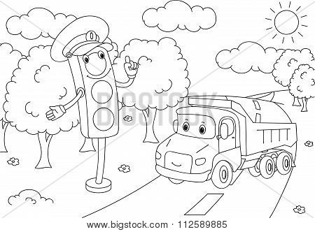 Cartoon Lorry With Traffic Lights. Vector Illustration