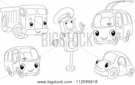 Car, Lorry, Bus, Trolleybus And Traffic Lights. Coloring Book