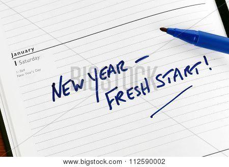 new year fresh start writing on paper