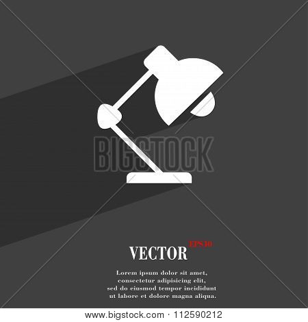 Reading-lamp And Lighting, Illumination Symbol Flat Modern Web Design With Long Shadow And Space