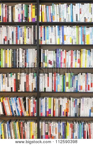 Seoul, Korea - August 13, 2015: Bookshelves With Lots Of Books In Bookstore Of Coex Convention And E