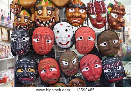 Seoul, South Korea - August 14, 2015: Korean Wooden Masks Sold In Insadong Street Of Seoul, South Ko