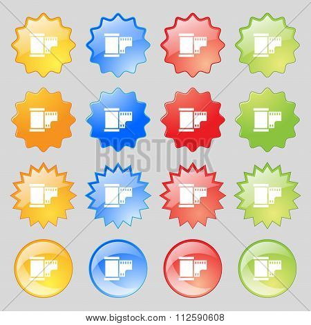 35 Mm Negative Films Icon Sign. Big Set Of 16 Colorful Modern Buttons For Your Design.