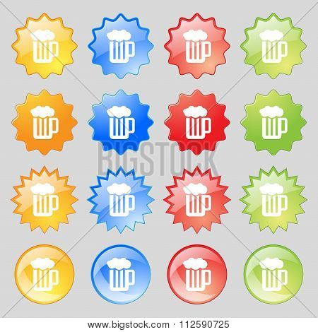 Glass Of Beer With Foam Icon Sign. Big Set Of 16 Colorful Modern Buttons For Your Design.