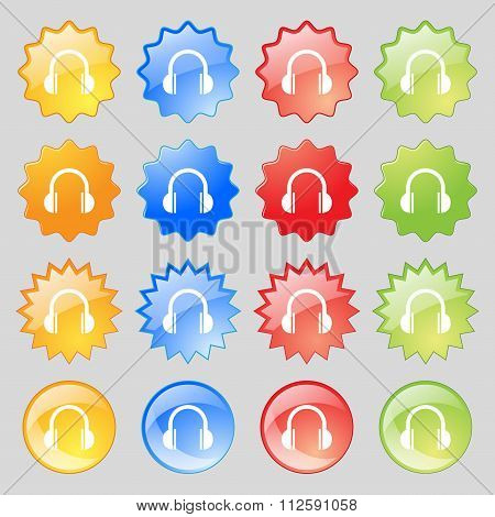 Headphones Icon Sign. Big Set Of 16 Colorful Modern Buttons For Your Design.