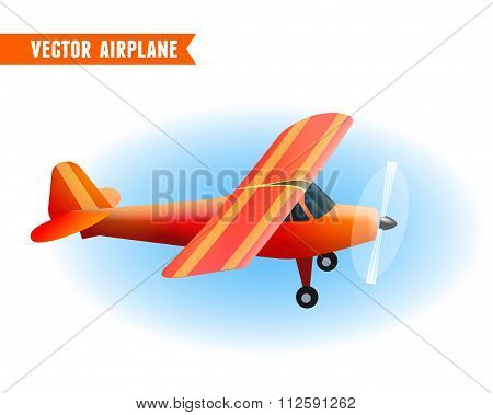 Red Airplane. Vector Illustration, Eps10
