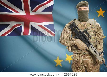 Soldier Holding Machine Gun With Flag On Background Series - Tuvalu