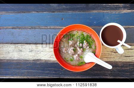 Gruel Pork Soup And Coco Milk Breakfast