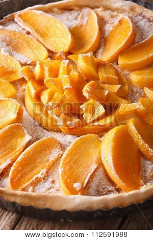 Cake Persimmon Close Up In Baking Dish. Vertical