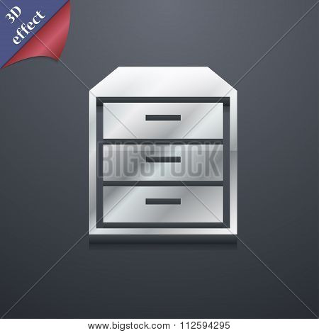 Nightstand Icon Symbol. 3D Style. Trendy, Modern Design With Space For Your Text
