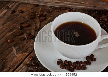 Macro of Coffee on an old table