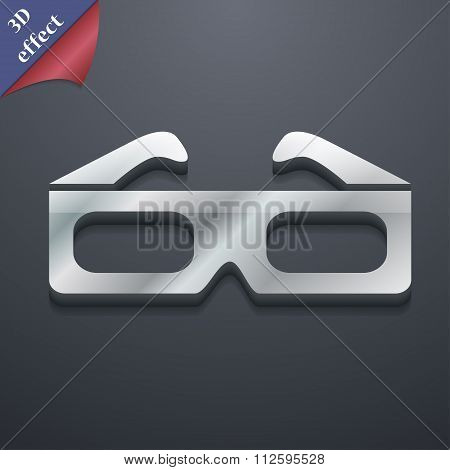 3D Glasses Icon Symbol. 3D Style. Trendy, Modern Design With Space For Your Text