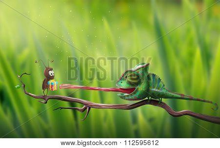 Bright Chameleon Reaching For Gift