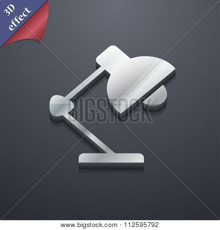 Reading-lamp And Lighting, Illumination Icon Symbol. 3D Style. Trendy, Modern Design With Space