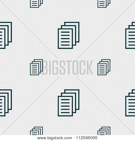 Copy File, Duplicate Document Icon Sign. Seamless Pattern With Geometric Texture.