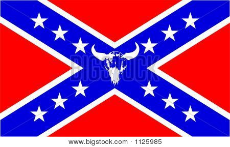 Confederate Flag With Buffalo Skull - Vector Illustration