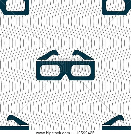 3D Glasses Icon Sign. Seamless Pattern With Geometric Texture.