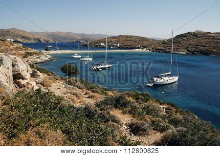 yachts are beautiful lagoon in sunny summer day