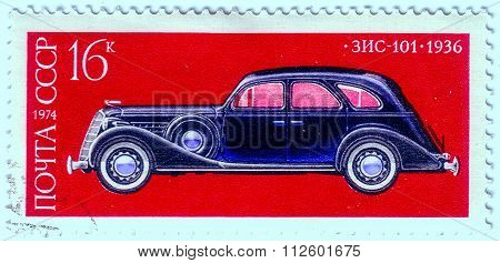 Ussr - Circa 1974: A Stamp Printed In Ussr Shows Zis-101 Car, 1936, Development Of Russian Automotiv