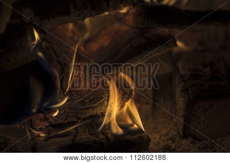 Burning Fire In A Hearth