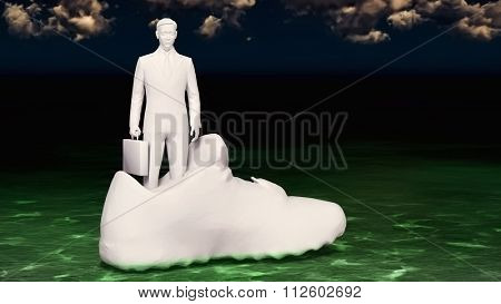 Businessman in the swimming shoe - methaphora to taking a bad decission