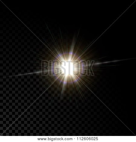 Realistic vector glowing lens flare light effect with  sparkles bursts on transparent background.