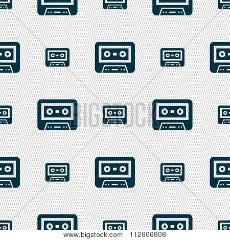 Audiocassette Icon Sign. Seamless Pattern With Geometric Texture.