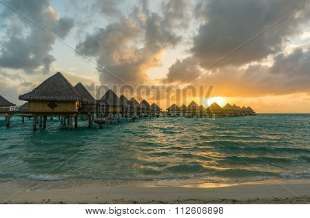 Sunset in a beach in Bora Bora