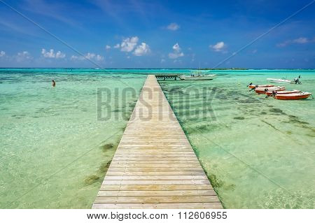 Jetty on a beach in Moorea