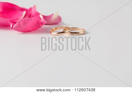 Rose Petals And Gold Wedding Rings