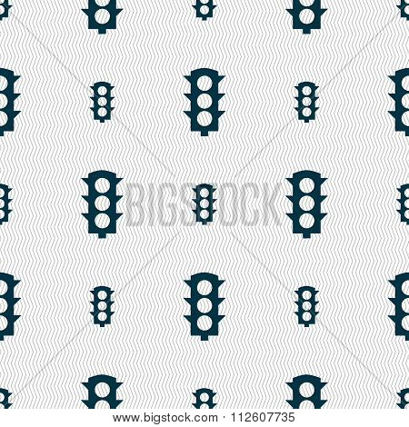 Traffic Light Signal Icon Sign. Seamless Pattern With Geometric Texture.