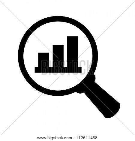 Business analysis symbol, finance analysis concept, magnifier glass with bar graph isolated on white background