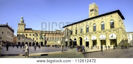 Bologna, Italy - December 27, 2015:  The Podesta Palace And The City Hall Of Bologna In Piazza Maggi