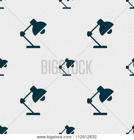 Reading-lamp And Lighting, Illumination Icon Sign. Seamless Pattern With Geometric Texture.