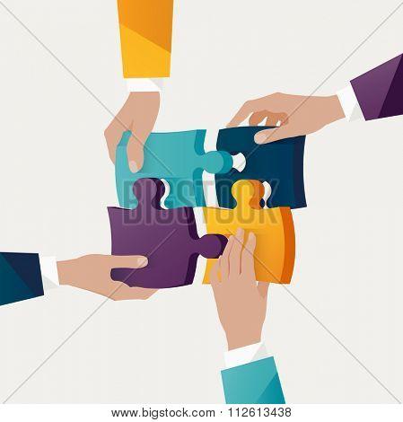 Teamwork concept. Colorful design.